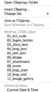 BBEdit Clippings folder - WebYep